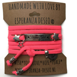 3 x Silver color bar bracelets - Neon dark pink