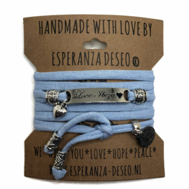 3 x Silver color text bracelets - Unicorn glitter baby blue
