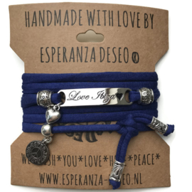 3 x Silver color text bracelets - Royal blue