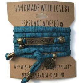3 x Bronze color text bracelets - Turquoise dark and black print
