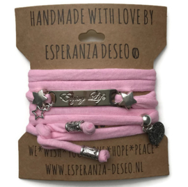 3 x Silver color bar bracelets - Pink