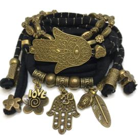 Set brons - Hamsa - zwart en zwart goud