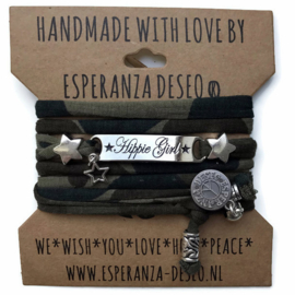 3 x Silver color text bracelets - Army print new