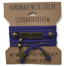 3 x Bronze color text bracelets - purple