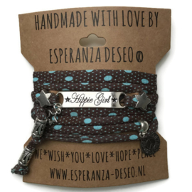 3 x Silver color bar bracelets - Brown with turquoise dots