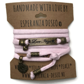 3 x Bronze color text bracelets - Pastel pink