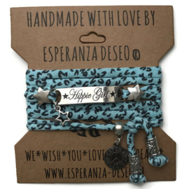 3 x Silver color bar bracelets - Aqua and black animal print
