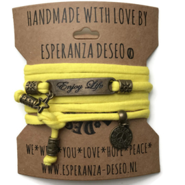 3 x Bronze color text bracelets - Yellow