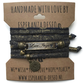 3 x Bronze color text bracelets - Dark blue with gold dust