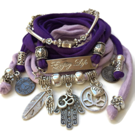 Set silver color Enjoy Life - Hamsa (also available in other colors)