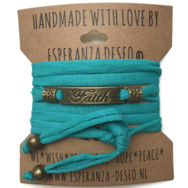 3 x Bronze color text bracelets - Dark turquoise green jogging