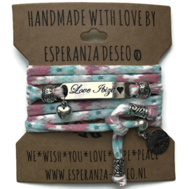 3 x silver color bar bracelets - Pink and mint aztec