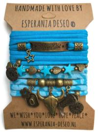 Bronze set hippie Girl - Buffalo turquoise blue