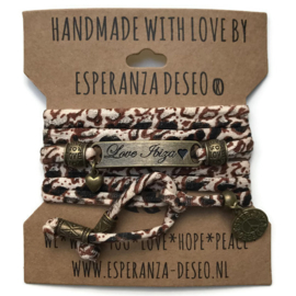 3 x Bronze color text bracelets -Leopard
