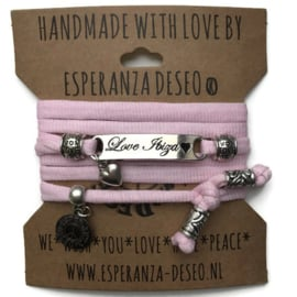 3 x Silver color bar bracelets - Pink ribbles