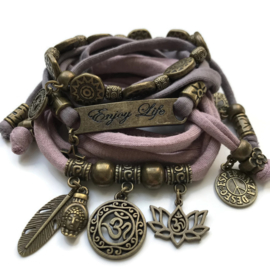 Set brons OHM lotus en Enjoy life vintage pink en taupe