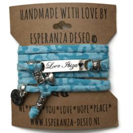 3 x Silver color text bracelets - Caribbean blue camouflage