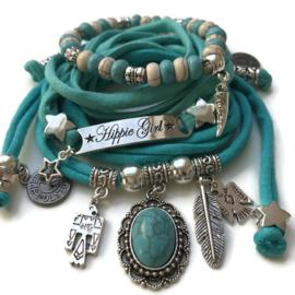 Set Hippie Girl - Indian style zilver kleuren turquoise groen en blauw