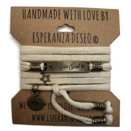 3 x Bronze color text bracelets - Sand