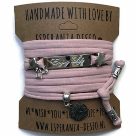 3 x Silver color bar bracelets - Pastel flamingo