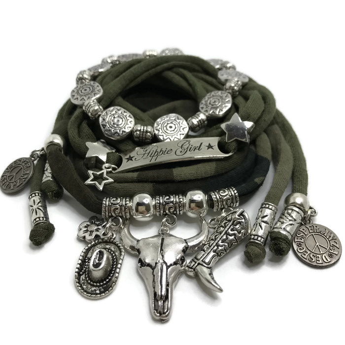 Set zilver Buffalo - Hippie Girl armyprint en armygroen