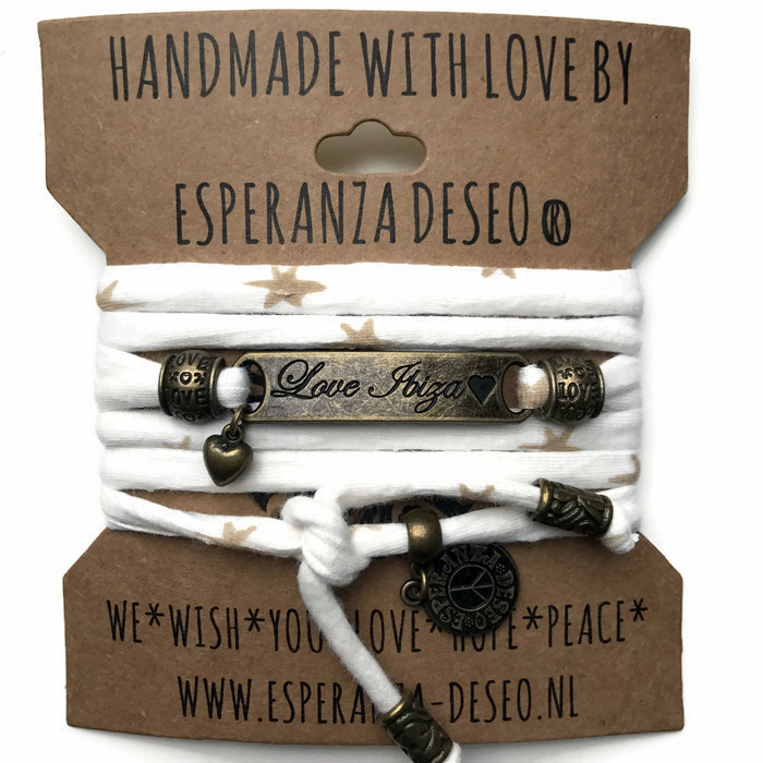 3 x Bronze color text bracelets - Off white and golden stars