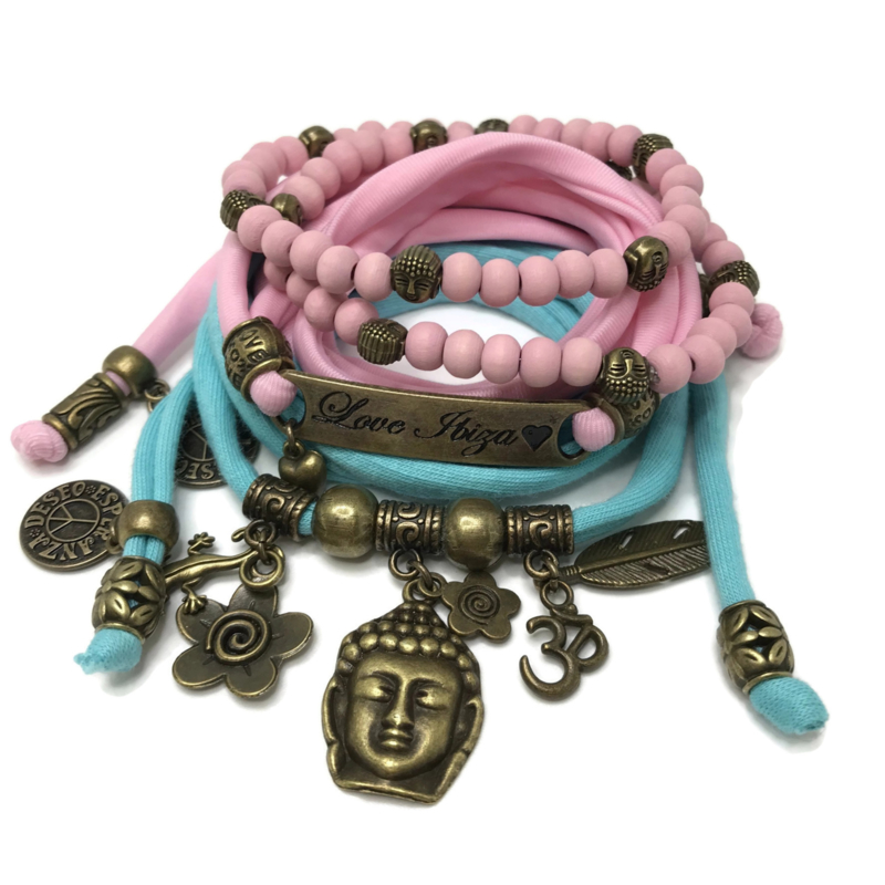 Set Love Ibiza - Buddha Ibiza - roze en turquoise