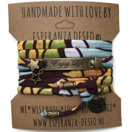 3 x Bronze color text bracelets - Print brown green white blue yellow