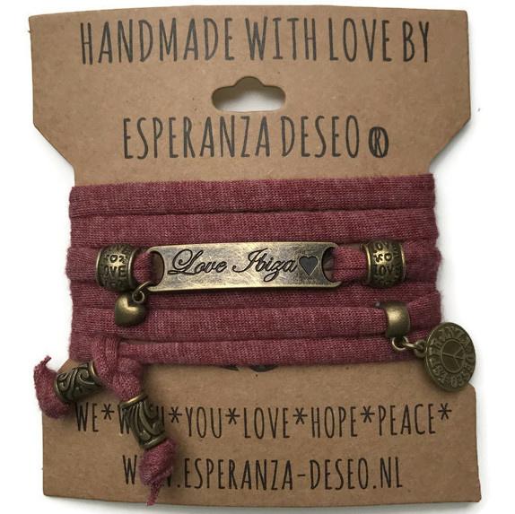3 x Bronze color text bracelets - Gemeleerd brick