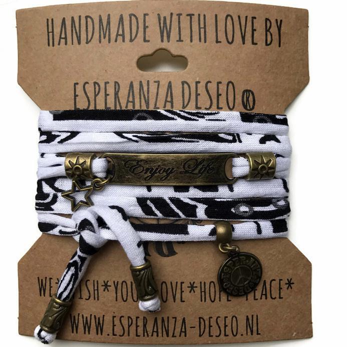 3 x Bronze color text bracelets - Black and white (P1012)