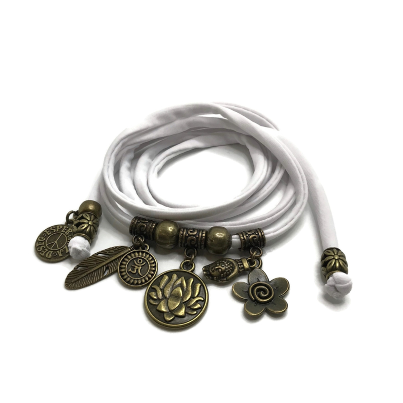 Lycra wikkelarmband - Lotus - wit