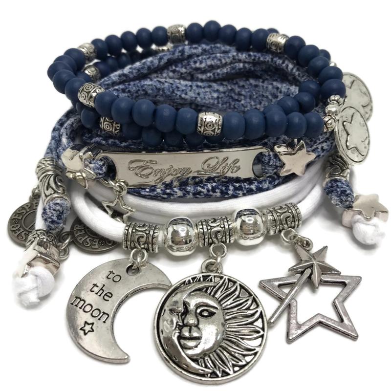 Set silver - Enjoy Life - Sun moon stars - snake blue and white