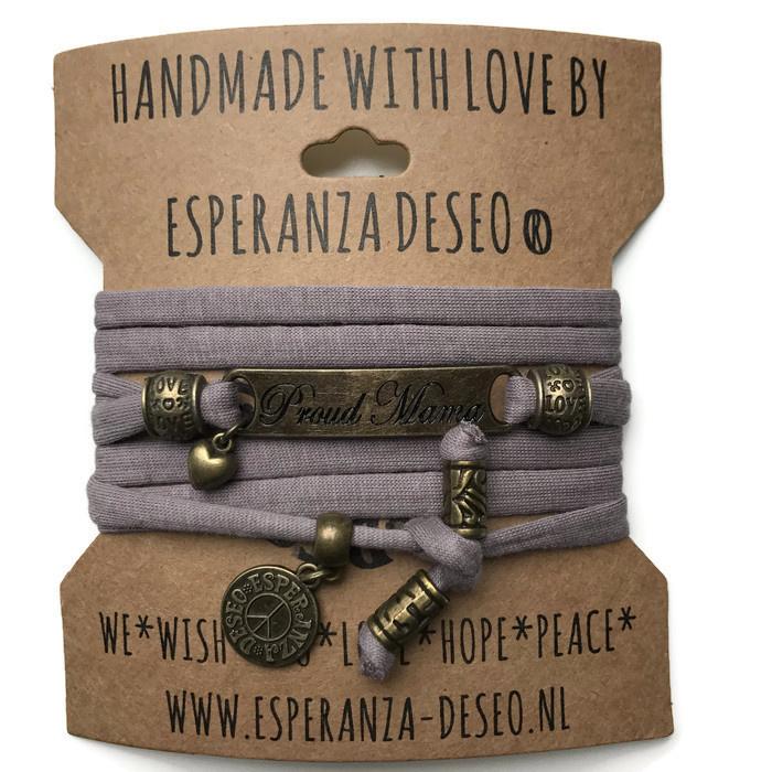 3 x Bronze color text bracelets - Purple taupe