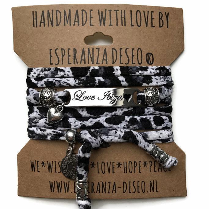 3 x Silver color bar bracelets - Black and white leopard