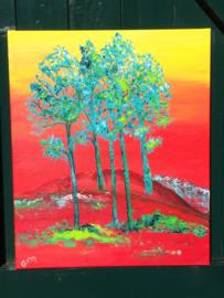 bomen op rood