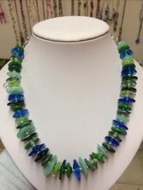 blauw groene halsketting
