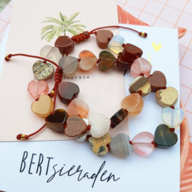 BERT armband Hartjes Edelsteen- NATUREL
