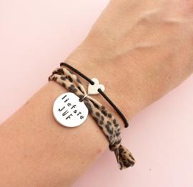 Liefste juf armband- tijger en hartje