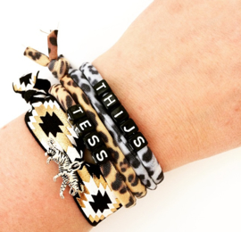 Luipaard armband met naam