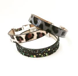 Armband luipaard bruin/ luipaard grijs of zwart stars