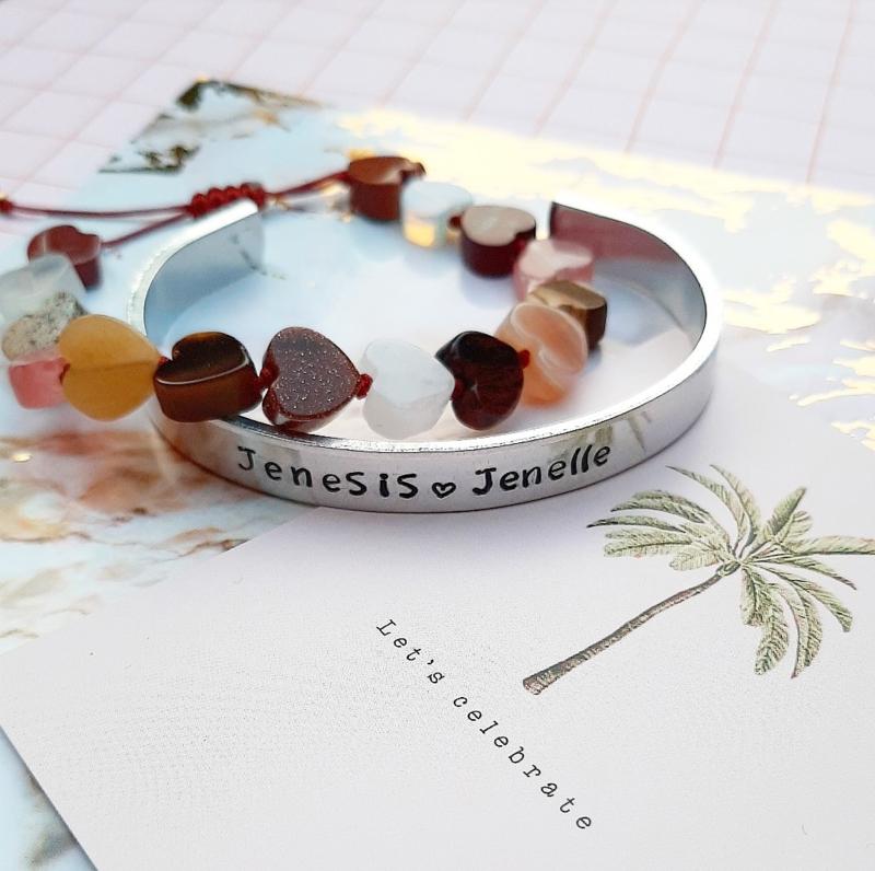 Armbanden combi slagarmband + hartjes armband edelsteen