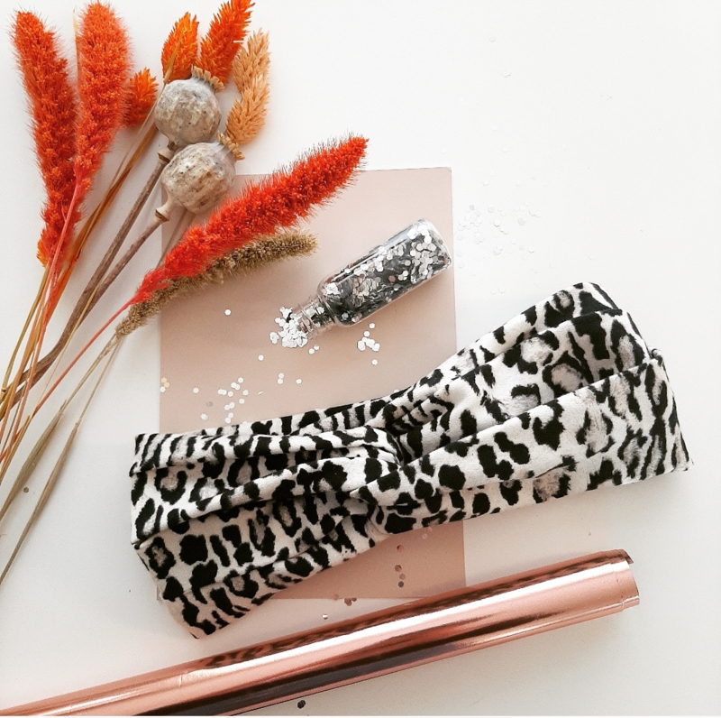 Haarband luipaard wit zwart-volwassene