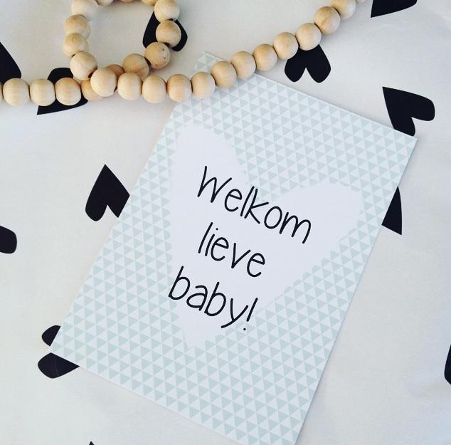 Ansichtkaart- Welkom lieve baby