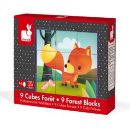 Blokpuzzel bosdieren Janod - 9 stukjes