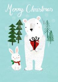 Kerstkaart Merry X-mas Polar bear