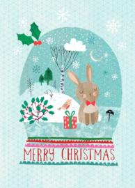 Kerstkaart Merry X-mas Snow bunny