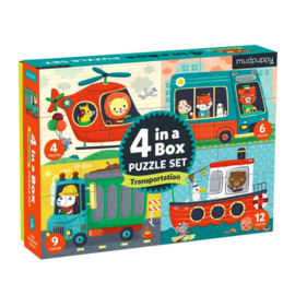 4 in 1 doos Transport puzzels - Mudpuppy