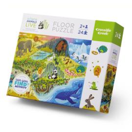 Puzzel Early Learning Wilde dieren - Crocodile Creek - 24 stukjes