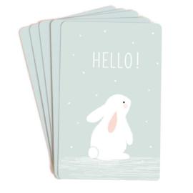 Set van 10 minikaartjes konijn Hello