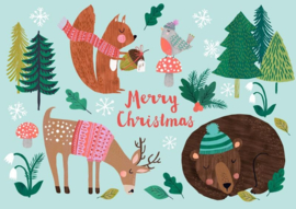 Kerstkaart Merry Christmas Animals